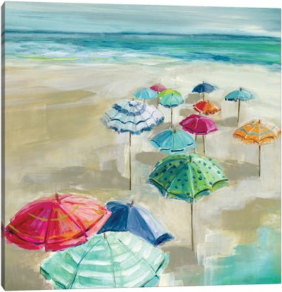 Umbrella Beach I Canvas Art Print