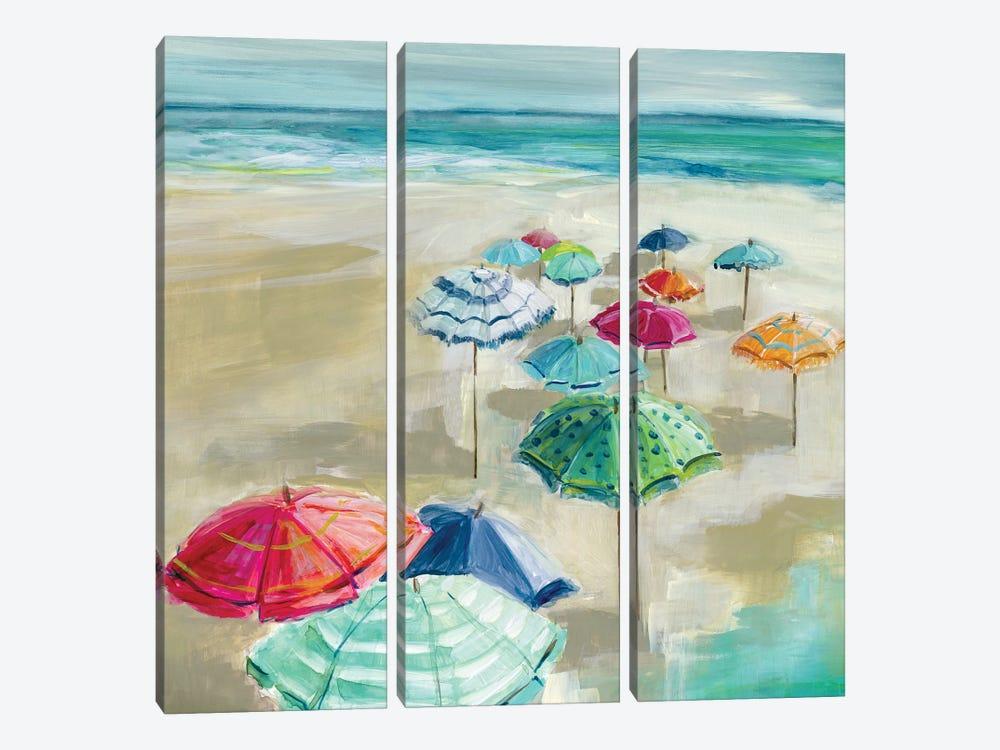 Umbrella Beach I by Carol Robinson 3-piece Canvas Art Print