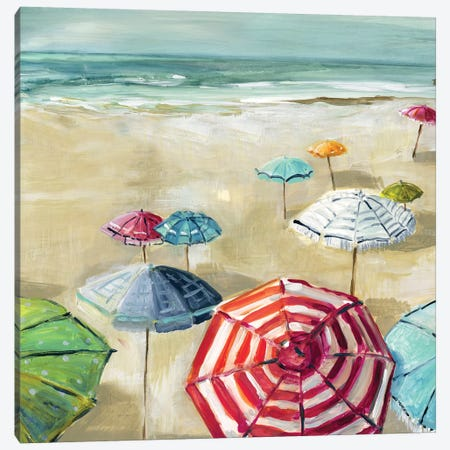 Umbrella Beach II Canvas Print #CRO853} by Carol Robinson Canvas Art