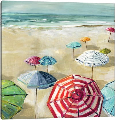 Umbrella Beach II Canvas Art Print