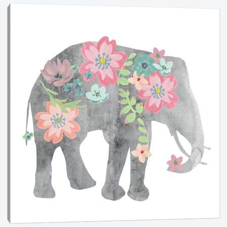 Girls Love Flowers Elephant Canvas Print #CRO885} by Carol Robinson Canvas Wall Art