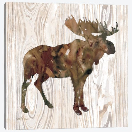 Pine Forest Moose Canvas Print #CRO89} by Carol Robinson Canvas Wall Art