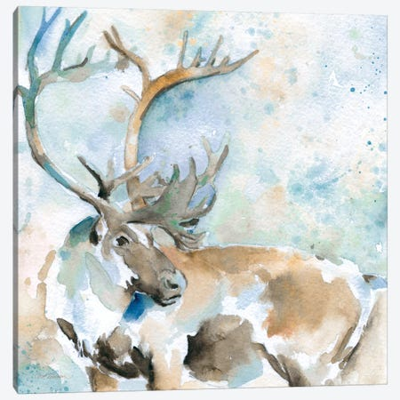 Caribou On Blue Canvas Print #CRO8} by Carol Robinson Canvas Artwork