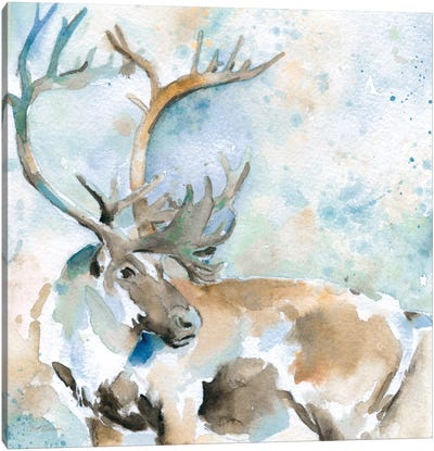 Caribou On Blue Canvas Art Print