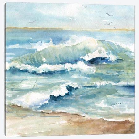 Beach Waves Canvas Print #CRO908} by Carol Robinson Canvas Wall Art