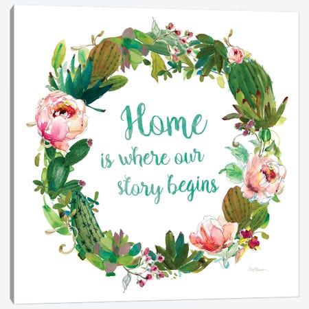 Home Cactus Wreath 3-Piece Canvas #CRO938} by Carol Robinson Art Print