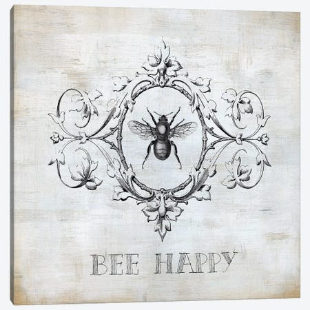 Bee Happy Canvas Print #CRO968} by Carol Robinson Canvas Artwork