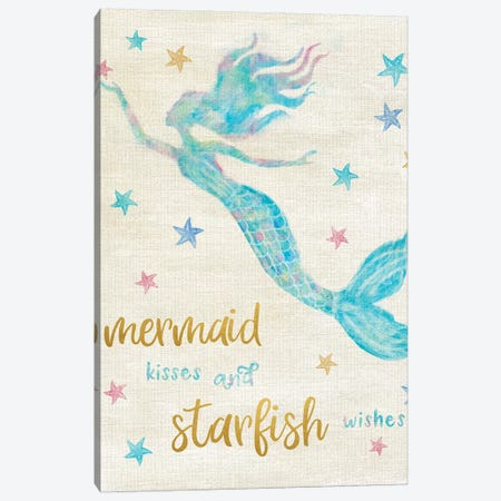 Mermaid Kisses Canvas Print #CRP46} by Natalie Carpentieri Canvas Artwork