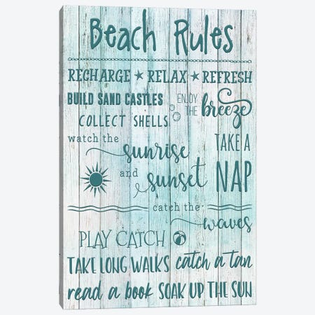 Beach Rules Canvas Print #CRP6} by Natalie Carpentieri Canvas Art Print
