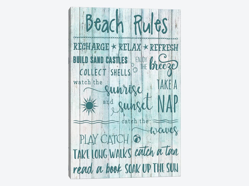 Beach Rules by Natalie Carpentieri 1-piece Canvas Art Print