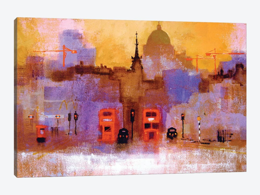 London Buses by Colin Ruffell 1-piece Canvas Artwork