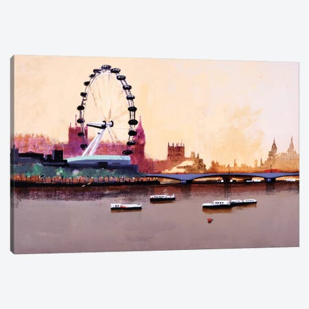 London Eye Canvas Print #CRU42} by Colin Ruffell Canvas Artwork