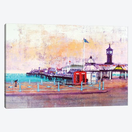 Brighton Phone Boxes Canvas Print #CRU7} by Colin Ruffell Canvas Art