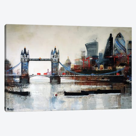 Tower Bridge And City Canvas Print #CRU82} by Colin Ruffell Canvas Artwork