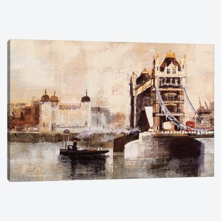 Tower Bridge And Tug Canvas Print #CRU83} by Colin Ruffell Canvas Wall Art