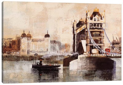 Tower Bridge And Tug Canvas Art Print