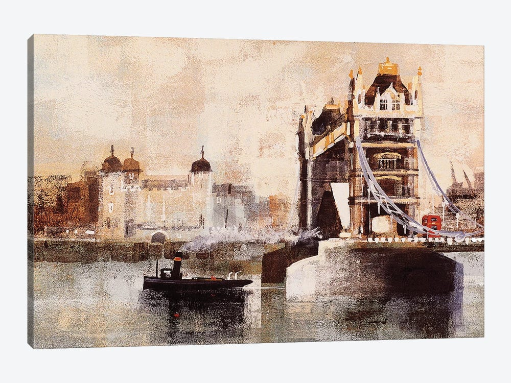 Tower Bridge And Tug by Colin Ruffell 1-piece Canvas Art Print