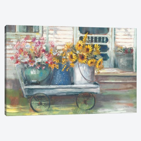 Garden Wagon Bright Canvas Print #CRW10} by Carol Rowan Art Print