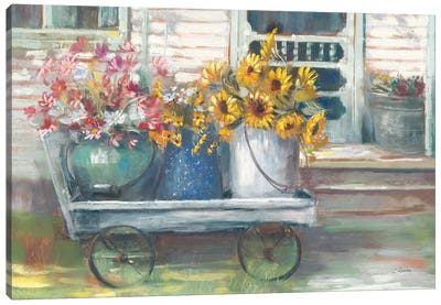 Garden Wagon Bright Canvas Art Print