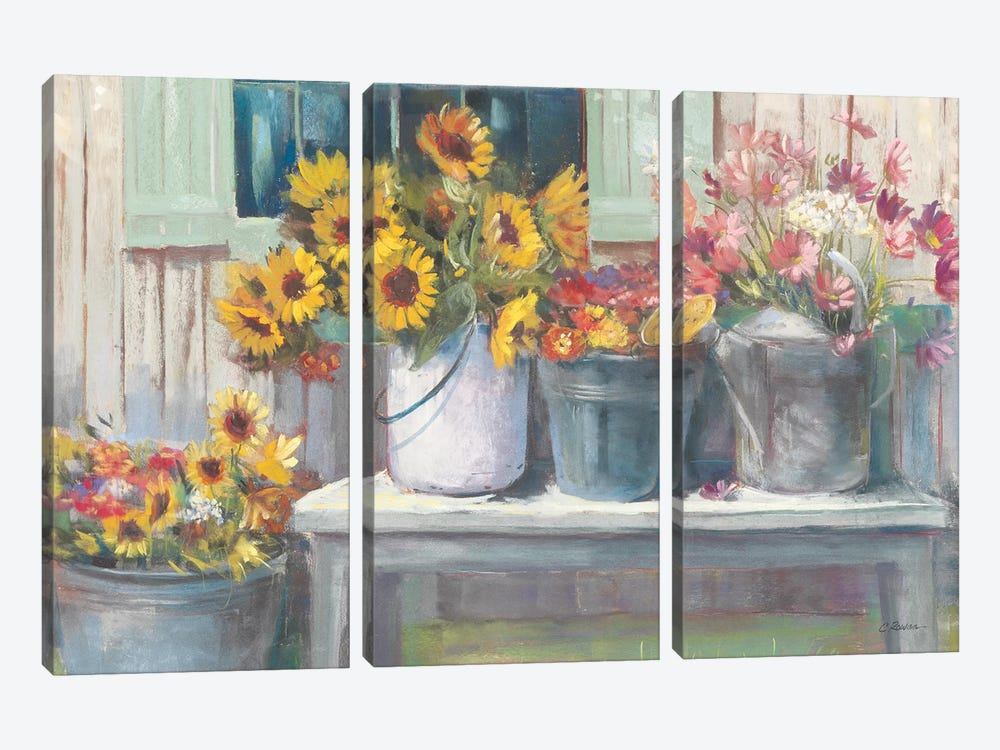 Green Bench Bright by Carol Rowan 3-piece Canvas Art Print