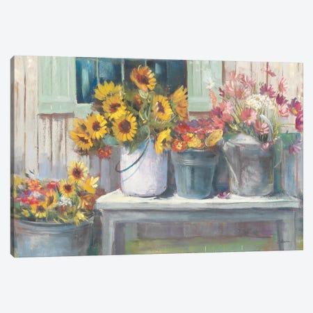 Green Bench Bright Canvas Print #CRW11} by Carol Rowan Art Print
