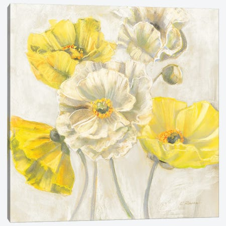 Gold and White Contemporary Poppies Neutral Canvas Print #CRW14} by Carol Rowan Canvas Artwork