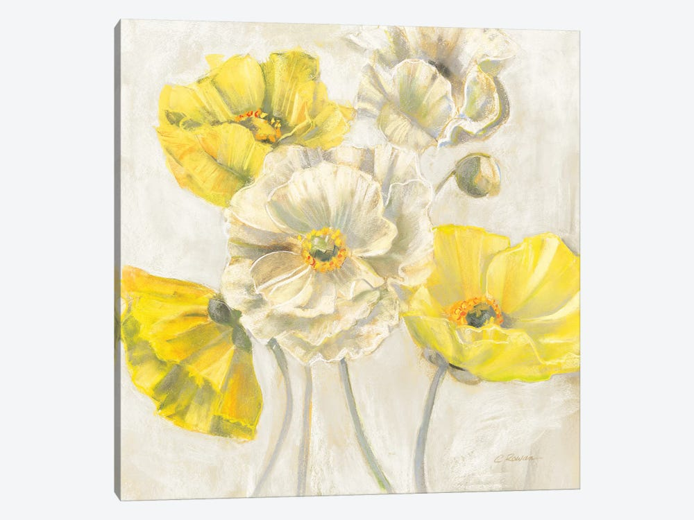 Gold and White Contemporary Poppies Neutral by Carol Rowan 1-piece Canvas Art
