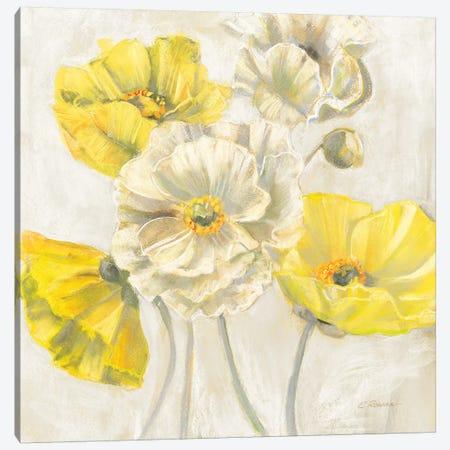 Gold and White Contemporary Poppies Neutral Canvas Print #CRW14} by Carol Rowan Canvas Artwork