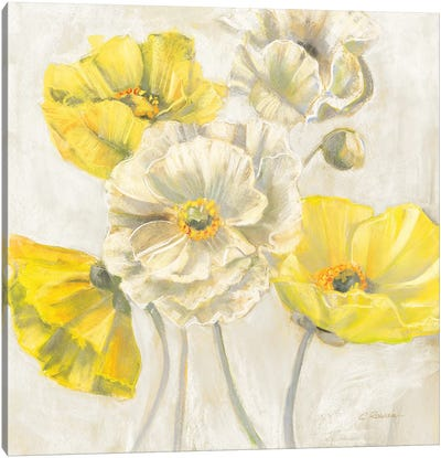 Gold and White Contemporary Poppies Neutral Canvas Art Print