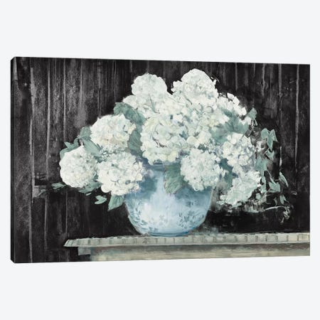White Hydrangea on Black Crop Canvas Print #CRW15} by Carol Rowan Canvas Wall Art