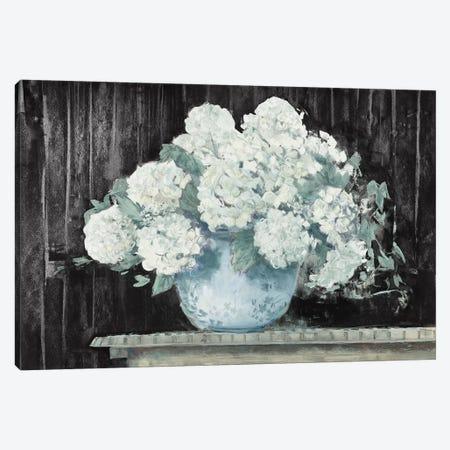 White Hydrangea on Black Crop Canvas Print #CRW15} by Carol Rowan Canvas Wall Art