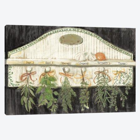 Herbs on Pegs Black Canvas Print #CRW17} by Carol Rowan Canvas Wall Art