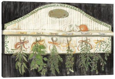 Herbs on Pegs Black Canvas Art Print