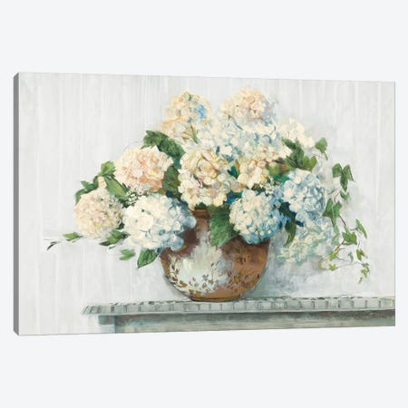White Hydrangea Cottage Canvas Print #CRW19} by Carol Rowan Art Print