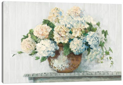 White Hydrangea Cottage Canvas Art Print