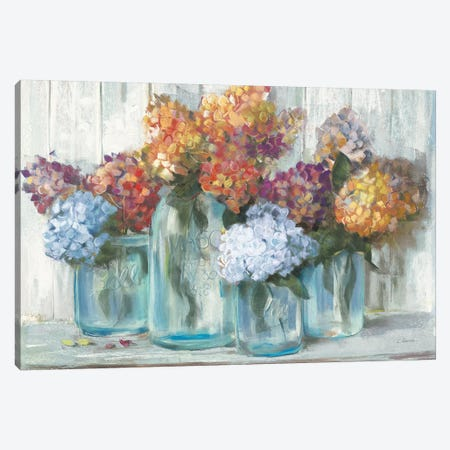 Fall Hydrangeas In Glass Jar Crop Canvas Print #CRW6} by Carol Rowan Canvas Artwork