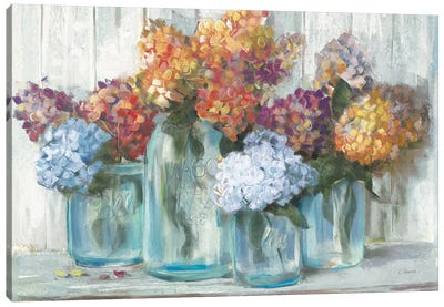 Fall Hydrangeas In Glass Jar Crop Canvas Art Print