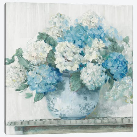 Blue Hydrangea Cottage Crop Canvas Print #CRW9} by Carol Rowan Canvas Print