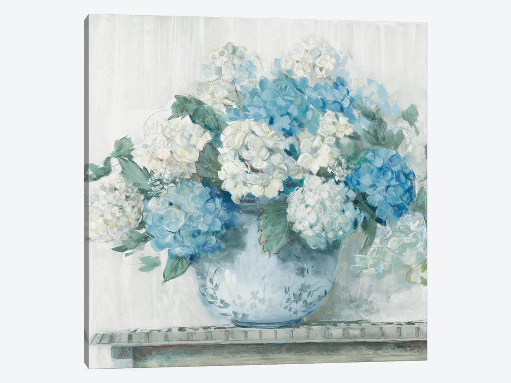 Blue Hydrangea Cottage Crop by Carol Rowan 1-piece Art Print