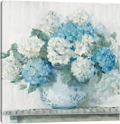 Blue Hydrangea Cottage Crop Canvas Art Print