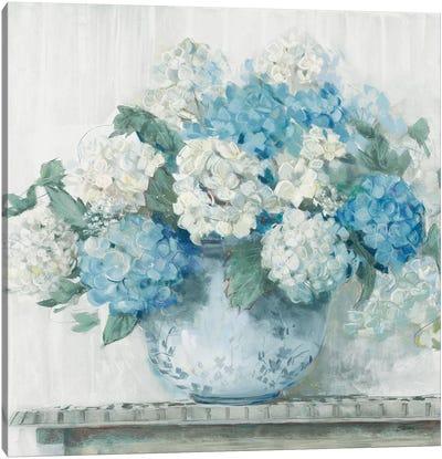 Blue Hydrangea Cottage Crop Canvas Art Print