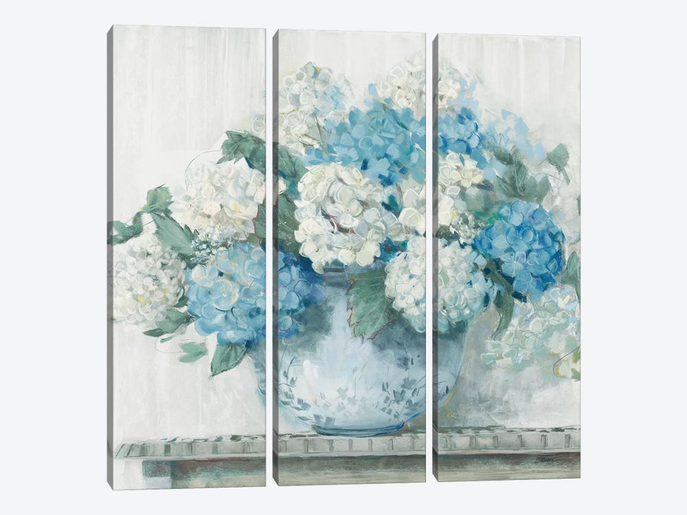 Blue Hydrangea Cottage Crop by Carol Rowan 3-piece Art Print