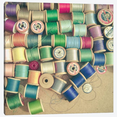 Cotton Reels Canvas Print #CSB33} by Cassia Beck Art Print