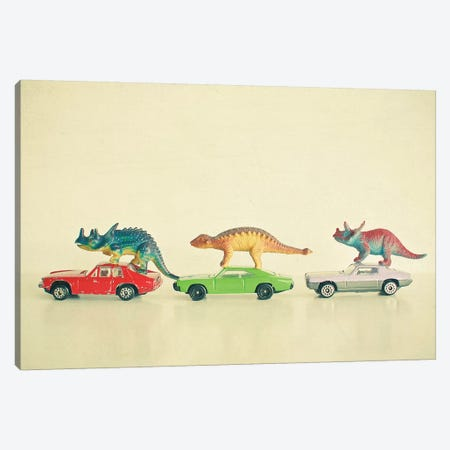 Dinosaurs Ride Cars Canvas Print #CSB40} by Cassia Beck Canvas Artwork