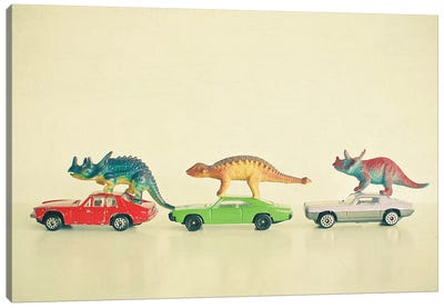 Dinosaurs Ride Cars Canvas Art Print