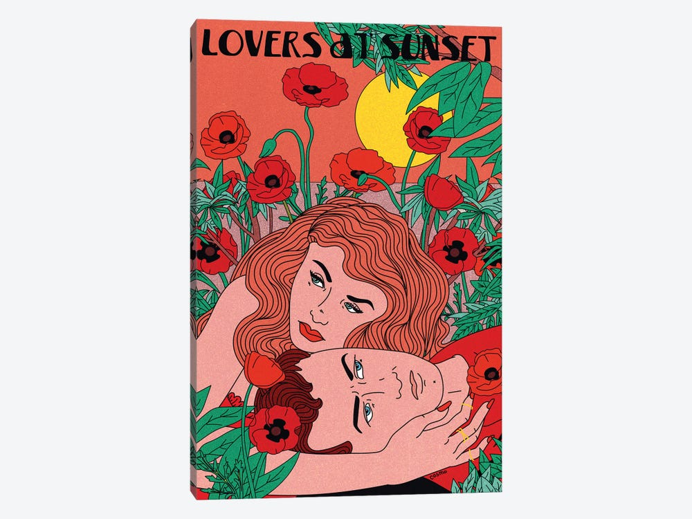Lovers At Sunset by Cosmo 1-piece Canvas Wall Art