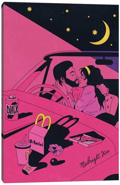 Midnight Car Kiss Canvas Art Print