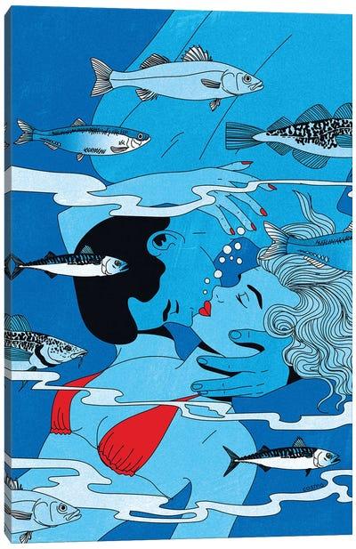 Lovers Underwater Canvas Art Print