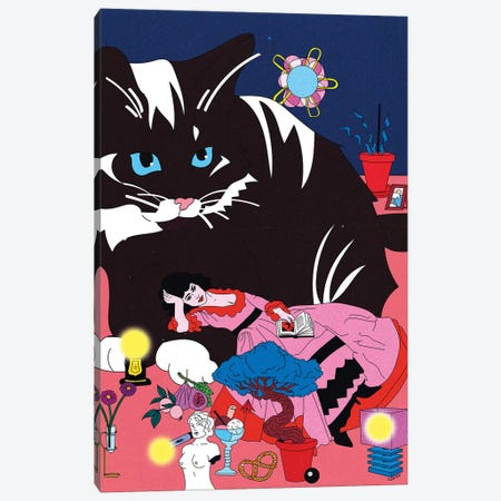 Cat Laying Canvas Print #CSO6} by Cosmo Canvas Art