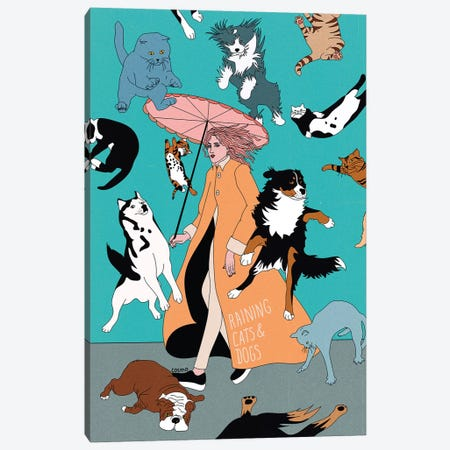 Cats & Dogs Canvas Print #CSO7} by Cosmo Canvas Wall Art
